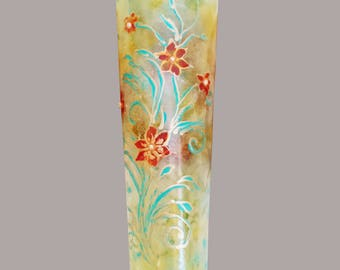 Glass Vase, Hand Painted Vase, Wedding Gift, Birthday Gift, Mothers Day