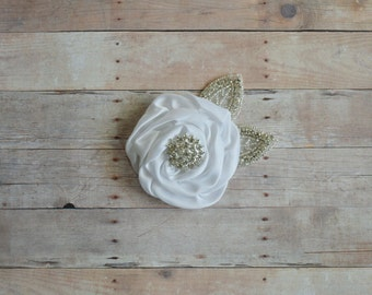White Flower Hairclip Flower Girl Hairclip, Wedding Clip, Bridal Hairclip, Rhinesyine Hairclip, Fascinator Bridesmaid Bridal Shower Baby