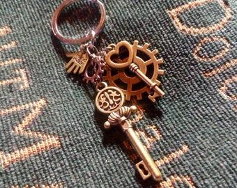 Cute steampunk style keychain