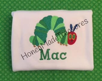Very Hungry Caterpillar Personalized Shirt/Girls Monogrammed Shirt/Boys Name Shirt/Book Worm Personalized Shirt-Free Shipping!