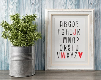 Personalised Alphabet Initials Framed Digital Print, Memory Print, Wedding Gift, Couples, Family, Memorable Year, Monochrome, Love, Heart
