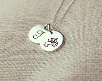Two sterling silver hand stamped discs on sterling silver chain
