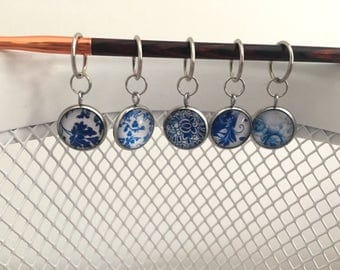Blue and White Stitch markers