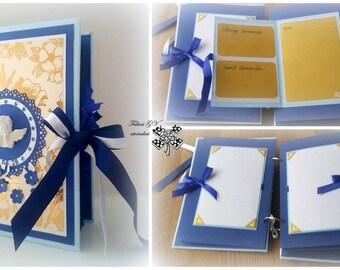Baby boy memory book, Baby book, Baby photo album, Blue baby shower book, Baptism book, Christening book, Blue memory book