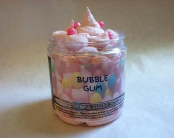 Bubble Gum Whipped Soap & Sugar Scrub. Fluffy Soap. Exfoliating Soap. 8oz.
