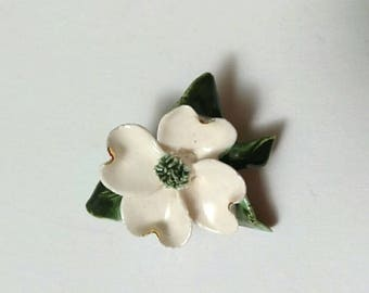 Vintage White Porcelain Flower Brooch Pin, Mid Century Brooch, Boutique, Accessories
