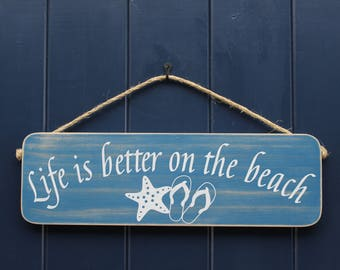 """Life Is Better On The Beach, Sign, Home Decor, Wall Decor, Porch Decor, Beach Decor, Life Is Better,Beach Sign,Wall Hanging, Approx.18""""x5.5"""""""