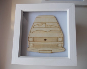 T25 Picture -  Etched wood T25 with bug eyes in white frame