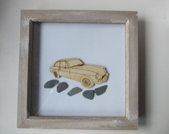 Mgb GT Picture -  Etched wood Mgb GT with Sea Slate in distressed wood frame