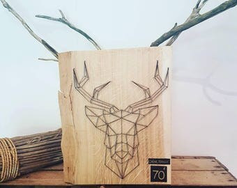 String art solid oak deer head