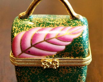 Green Purse Porcelain Hinged Box