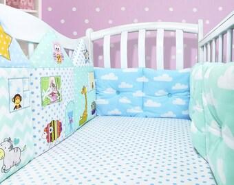 Cloud nursery decor: baby boy crib bumpers, cloud pillows (010)