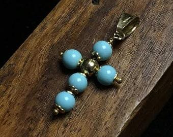 14k Italian Cross with Turquoise beads