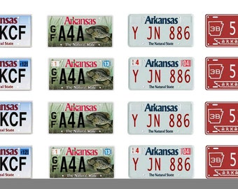 scale model car Arkansas license tag plates