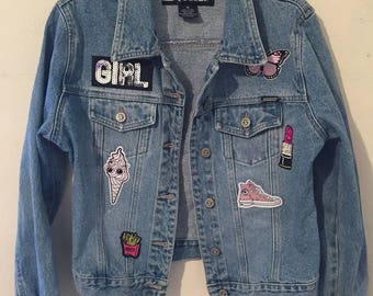 Girls Denim Jacket W/ Patches
