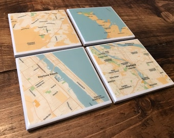 Custom Map Coasters - Pick Your Locations (5 Style Options) - Resin Coated