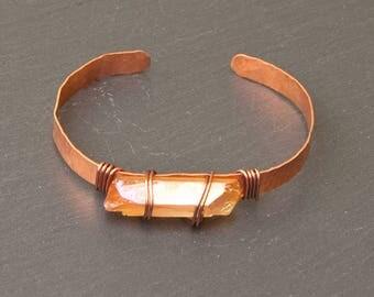 raw crystal cuff, crystal bracelet, aura quartz cuff, raw quartz, crystal bracelet, crystal jewelry, raw stone, raw jewelry, raw crystal