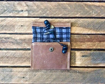 Headphone Case, Small Pouch, Snap Pouch, EDC Pouch, Headphone Pouch, Waxed Canvas Pouch, Waxed Canvas Snap Pouch, Small Snap Pouch