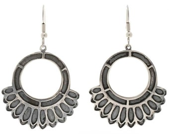 Silver Circle French Hook Earrings Hopi Overlay Design Native American Jewelry
