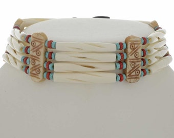 Turquoise Indian Bone Choker Traditional Four Strand