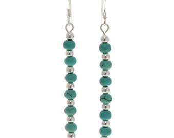 Turquoise Silver Bead Earrings Navajo Line French Hooks