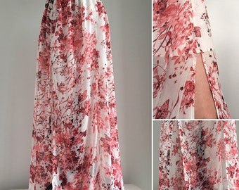 Double split maxi skirt - White background with red flowers and butterflies - chiffon skirt