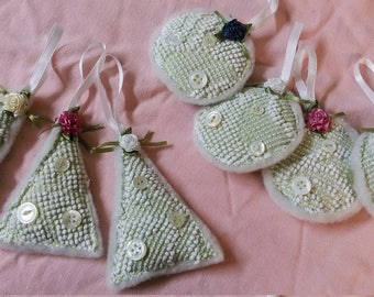 Set of 4 CHENILLE ORNAMENTS,Soft Sculpture Holiday Display,Repurposed Linens,Chenille Ornaments,Stuffed Ornaments,Gifts Under 20