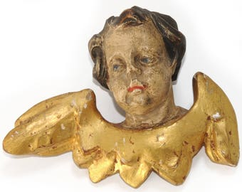 ANTIQUE ANGEL CHERUB · Head with wings · Wood · carved · hand painted · gold plated