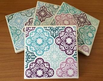 Mosaic decoupage coaster, set of four, ceramic title coasters, gift under 20.00