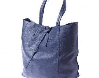 SALE Leather Tote Bag Womens Pebble Grain Italian Leather Navy Shopping Bag