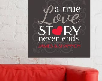 Personalized A True Love Story Wall Canvas Custom Name Gift