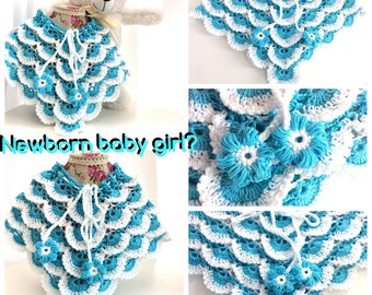 Cute baby poncho with V neck and neck Ribbon with flowers for baby girl crochet cotton 0-6 months turquoise and white.