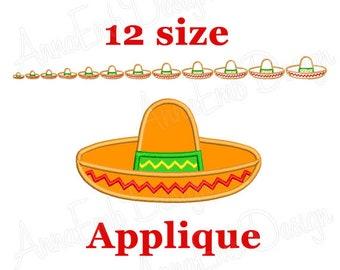 Sombrero applique Embroidery Design. Mexican Hat Embroidery Design. Cinco de Mayo applique Embroidery Design. Mini Sombrero. Sombrero Design