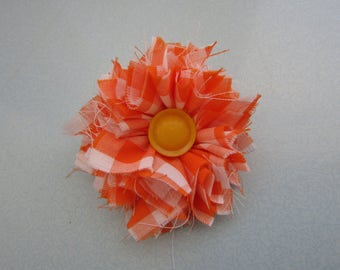Handmade Flower Brooch with Vintage Button and Fabric
