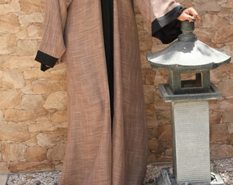Ramadan Eid *25% SALE* Reversible Abaya with open front (Tan/Black) kaftan maxi