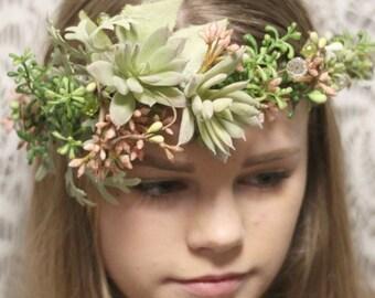 sage green Floral wreath, Succulents floral Wreath