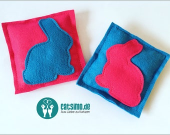 "Motif-game cushion cat toy ""Happy Easter"" felt organic spelt catnip"