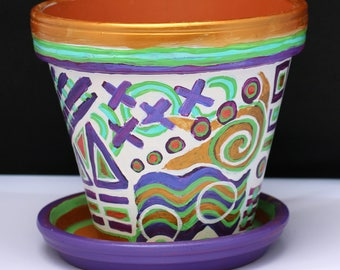Shimmering purple, blue, green, white and gold abstract flower pot!