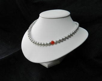 Silver fresh water pearls, AAA, and fire opal bead necklace, sterling silver clasp, hand made on a silk yarn