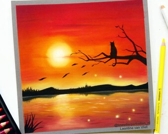 Nature Wall Decor - Sunset Landscape - Landscape Wall Art - Landscape Drawing - Wildlife Pastel Drawing - Cat Illustration - Cat Wall Art