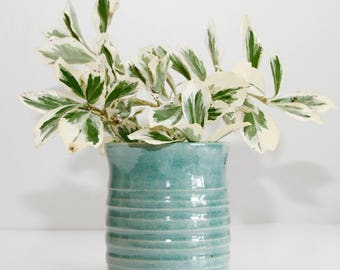 vase planter pot, turquoise, shiny, handmade, wheel thrown, ceramic, glazed