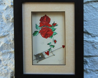 Original 1923 Painting of a Red Rose