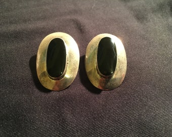 Black Onyx & Sterling Silver Post Earrings
