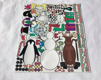 Build Your Own Christmas Character Sticker Sets, Vinyl Decals, Christmas Cards