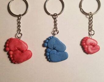 Baby feet polymer clay keychain