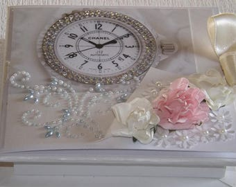 Personalized 2in1 Beautifull Birthday Gift box + Greeting card with 3D flowers, pearls and crystals.