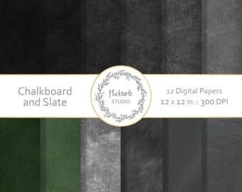 Chalkboard digital paper - Chalkboard clipart - Scrapbook paper, Blackboard Digital Paper, Slate Digital Paper, Commercial use