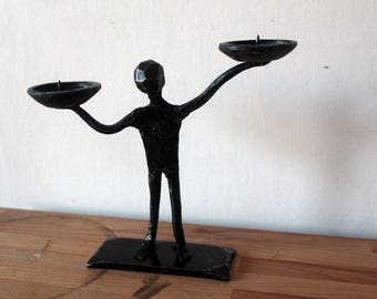 Hand forged  Little man candleholder