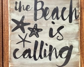 The beach is calling,handpainted, rustic wood sign, beach sign, beach house decor, starfish, wooden signs, handpainted rustic sign, rustic