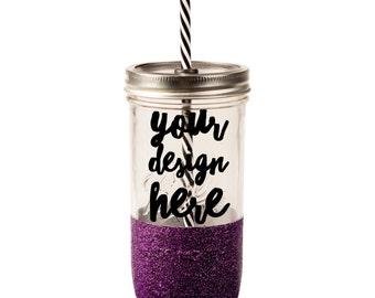 Personalized tumbler // mason jar // glitter tumbler // Custom Tumbler // Custom // glitter dipped